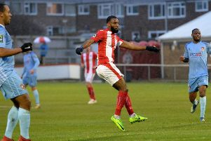 Daniel Nti came off the bench to grab Brackley Town's second goal at Darlington