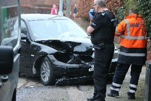 One of the cars involved in the collision