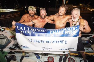 The Row Row Row our Boat team including captain Andy Williams (Westbourne), Nick Wright (Thorney Island), Andrew Burns (Chichester) and Jonny Bayley (Brighton) completed the Talisker Whisky Atlantic Challenge. Credit: Ben Duffy Photography