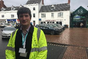 Blue Badge enforcement officer Ben Simmons by Market Place car park, where he was nearly ran over
