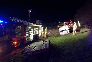 Emergency services at the scene of the minibus crash on the M40 near Bicester. Photo: Oxfordshire Fire and Rescue Service