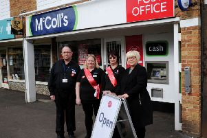Orchard Way, Banbury, Post Office open at McColl's. From the left, Steve Gunter, relief manager, Libby Blackburn, Debbie Hillman, supervisors and Sue Litster, Post Office area manager. NNL-190503-163346009