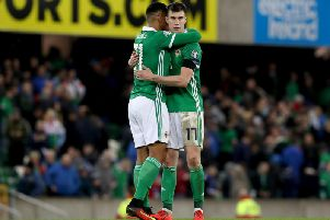 Northern Ireland players celebrate the win against Estonia
