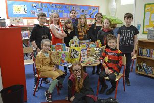 Pupils with their new donations