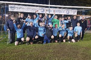 Asfordby celebrate their 3-1 win over Wymeswold in last season's final EMN-190326-165238002