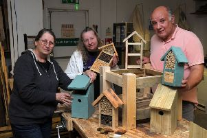 Restore, Banbury, bug hotels and bird boxes. From the left, Rosemary Coles, member, Jacqui Vincent-Potter, co-ordinator and Paul Prichard, member. NNL-190326-152442009