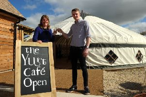Nicholsons Nurseries Yurt Cafe. Liz Nicholson, director and Oli Ong, marketing manager. NNL-170703-153314009