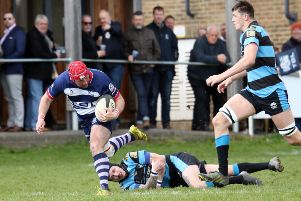 Sam Stoop races clear against Witney in his last home game for Banbury Bulls. Photo: Steve Prouse