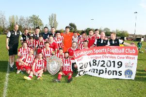 Easington Sports celebrate with the UHLSport Hellenic League trophy