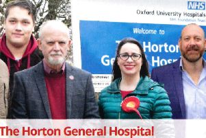 Perran Moon (far right) and Blue Watson (far left) photoshopped into the picture of Hannah Banfield and Phil Richards outside the Horton General Hospital