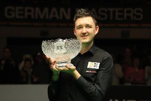 Kyren Wilson pictured after winning the German Masters in February, one of three titles he has claimed this season