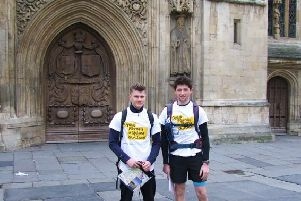 Henry and Dominic ready to start their walk outside Bath Abbey