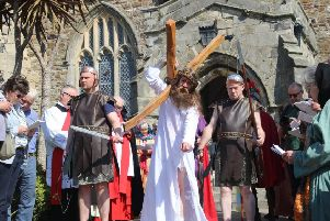 Stations of the Cross Passion Play in Hastings Old Town.'Photo by Roberts Photographic. SUS-190420-064818001