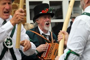 Adderbury Day of Dance. Pictured, Donald McCrombie playing the accordion with Adderbury Morris Men outside The Bell NNL-190428-165634009