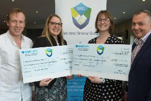 (L-R) BRG chairman Dave Green, Laura Horton from Katharine House Hospice, Ruth Pearson from Maggie's Cancer Care Centre, and vice chairman Nigel Scrimshaw
