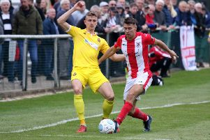 Brackley Town's Matt Lowe in action against Spennymoor Town at St James Park in the Vanarama National League North play-off semi-final. Photo: Steve Prouse