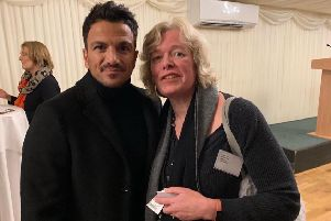 Tamsin Brewis with Peter Andre who are both supporting the need for a Children's and Young persons Cabinet Minister NNL-190805-152414001