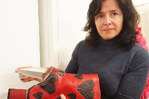 Jo Allen with the boot she has designed