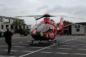 The Air Ambulance landed at Portadown Free Presbyterian Church today to deal with an incident involving two nearby residents.