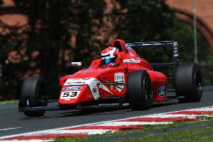 Bart Horsten on his way to podium finish for BWT Arden at Oulton Park
