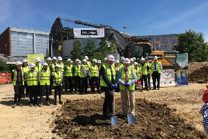 Lots of people came to celebrate at the ground-breaking ceremony for Castle Quay 2