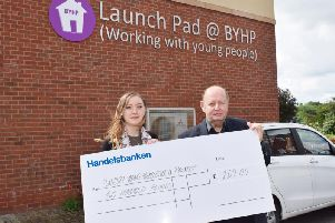 Lucy Wheatley a member of Spratt Endicott's Charity Committee and Patrick Vercoe, BYHP CEO