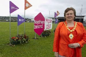 Mid and East Antrim is ready to welcome golf fans from around the world as The Open makes its return to Northern Ireland. The Mayor, Cllr Maureen Morrow, is pictured at Redlands Roundabout, Larne.