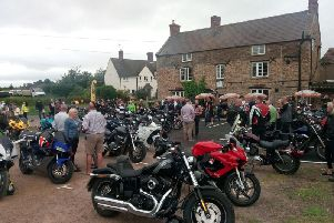 Bikes of all kinds arrive at the pub