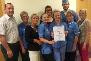 Maternity Staff at Altnagelvin Hospital pictured with their certificate in recognition of being named in the top ten Maternity Units in the UK for their work in preventing stillbirths by detecting small (gestational age) babies.