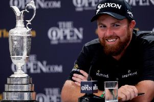 Shane Lowry with the Claret Jug during the press conference'Mandatory Credit INPHO/Oisin Keniry