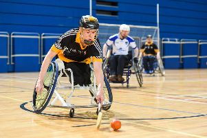 27 October 2018; Conn Nagle of Ulster during the M.Donnelly GAA Wheelchair Hurling All-Ireland Finals match between Ulster and Connacht at the Sport Ireland National Indoor Arena in Abbotstown, Dublin. Photo by Barry Cregg/Sportsfile