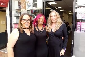 Owner Danni, Kristal, who will shave off her pink locks next week and salon manageress Zoe