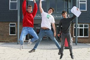 DM1982387a.jpg. A' level results 2019. Bushop Luffa, Chichester. From left Billy Grubb, Freddie Dempster and Adam Slater. Photo by Derek Martin Photography. SUS-190815-130859008
