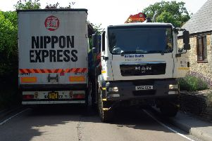Lorries struggling to get past each other on the A422 in Farthinghoe
