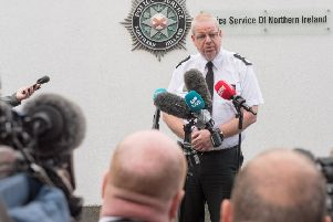 PSNI Chief Constable Simon Byrne at a press conference in Londonderry.'The Chief Constable visited the city this afternoon after a spate of attacks in the area being blamed on the 'New IRA'.