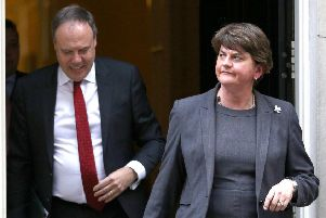 DUP leader Arlene Foster and deputy leader Nigel Dodds emerging from Downing Street this week