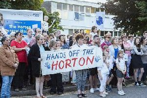 A protest in August 2016 before the downgrade of the maternity unit to a midwife-only service