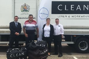 Graeme Andrews, Site Director, CLEAN Banbury; Chris Morely, Senior Pastor Grand Union Vineyard Church; Adrienn Dobos, Customer Service and Administration Manager, CLEAN Banbury and Will Willits, Transport Manager, CLEAN Banbury.