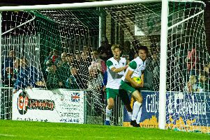 Bognor's players retrieve the ball after Tommy Leigh's goal makes it 2-1 / Picture by Tommy McMillan