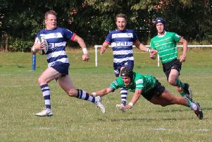 Tommy Gray races through to score for Banbury Bulls against Buckingham. Photo: Simon Grieve