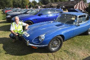 Jaguar Enthusiasts Club family day and car show at Woodland Waters. Chris Ward of Grantham with his 1973  E-type Jaguar EMN-190909-172938001