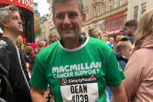 Kineton Primary Teacher Dean Sanderson at the finish of the Birmingham Half Marathon