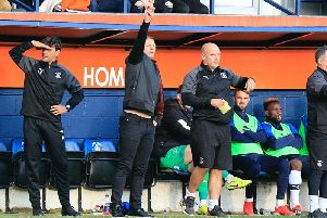 Hatters boss Graeme  Jones gets his point across against Bristol City