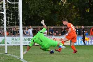 Connor Tomlinson puts Luton 1-0 in front at Bedford Town
