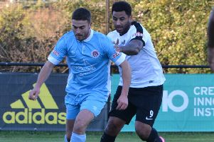 Kings Langley's Rene Howe, right, put Kings 1-0 ahead against Weymouth on Saturday. (File picture: Chris Riddell).