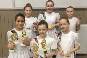 Kelly,  Amarah,  Anna, Pippa, Abbie, Kellie from Sollus Highland Dance who danced at a Belfast dance competition . The girls brought home lots of medals with both Kelly and Anna winning a special Fling trophy. Pippa and Abbie won overall trophies for both their Highland and National  dances.