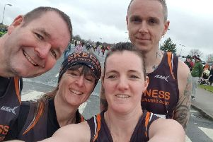 The team at the Retford Half. From left are Shawn Thomas, Sarah Thomas, Charman Holgate and Will Kelly.