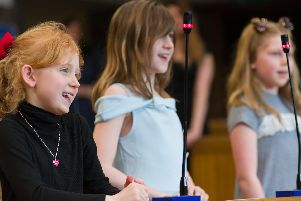 Children's group Dream Catchers hold their very own children's parliament at the Guildhall, Portsmouth. Picture: Duncan Shepherd