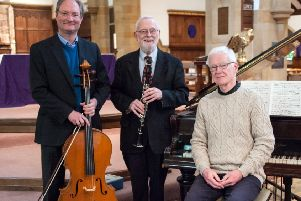 From left: Ethan Merrick (cello and double bass), Tony Donovan (clarinet) and Andrew Storey (piano). Picture by Melvyn Walmsley
