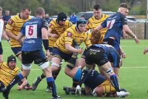 Action from Worthing Raiders' win at Dings Crusaders on Saturday. Picture by Colin Coulson
